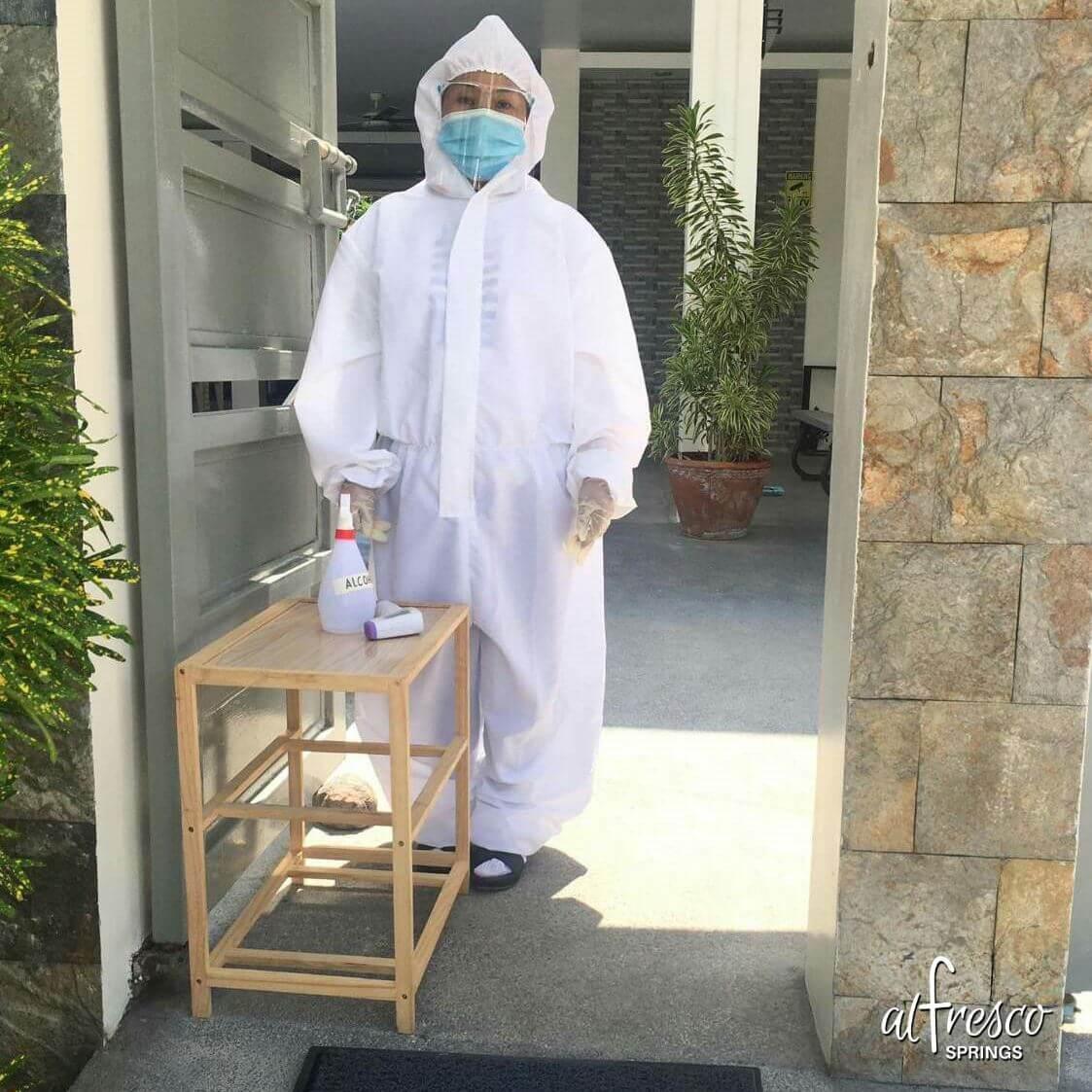 Al Fresco Springs Staff in full PPE